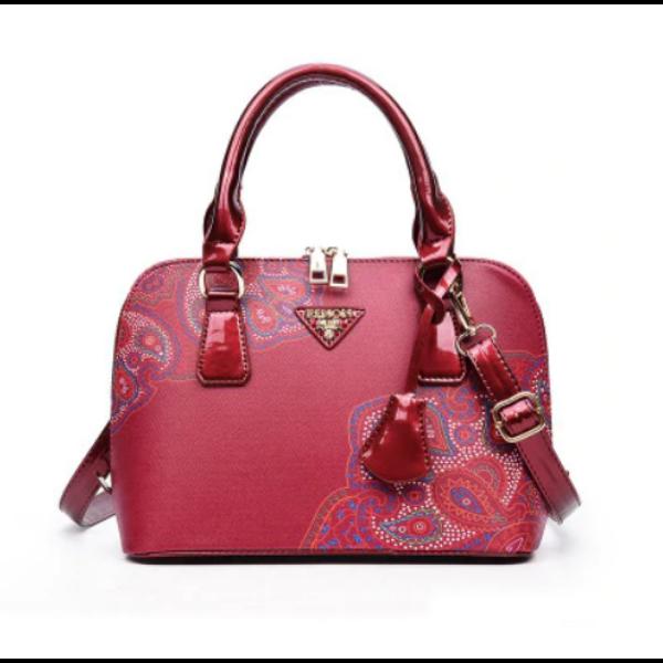Maria King pirosas bordó pávatoll díszítésű luxus műbőr táska