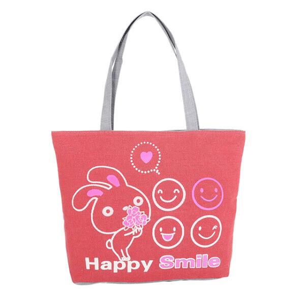 """""""Happy Smile"""" feliratú lilás színű nyuszis válltáska"""