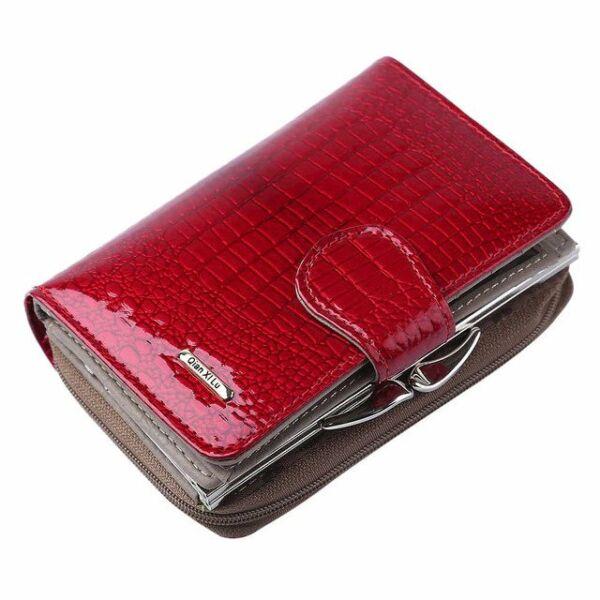Maria King pirosasbordó luxus valódi bőr női pénztárca