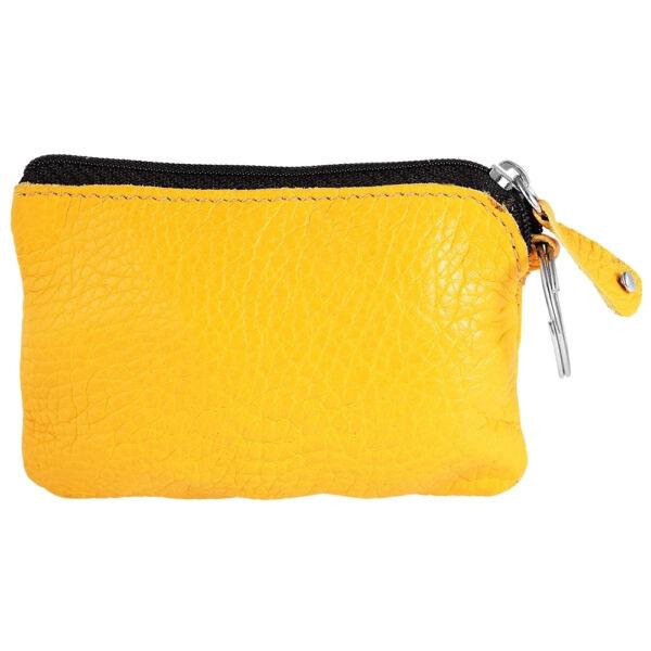 Excellanc valódi bőr érmetartó tárca, 12x8 cm - sárga