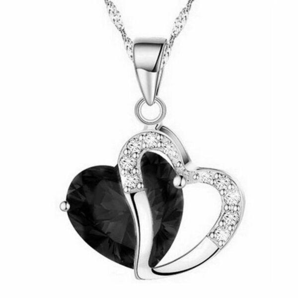 Aranyozott kristály szív medál nyaklánccal, fekete