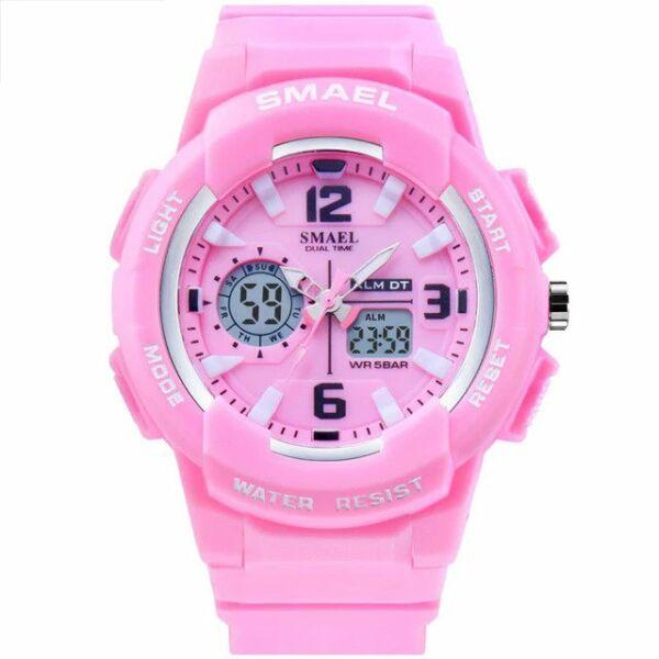 SMAEL luxus cseppálló, ütésálló military sport női karóra, pink