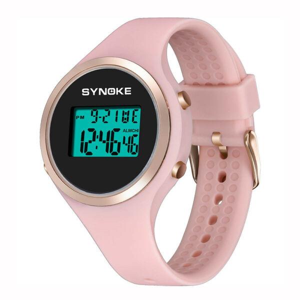 SYNOKE szilikon szíjas kronográfos, digitális (LED-es) női karóra, pink