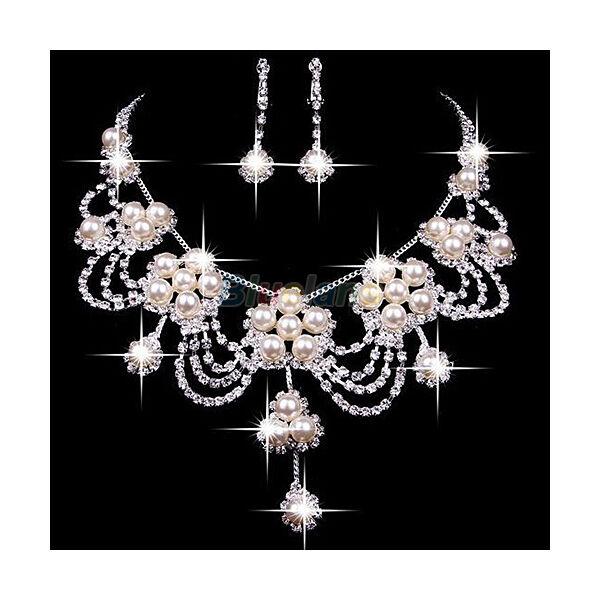 Csillogó-villogó mesterséges gyöngy és strassz nyaklánc és fülbevaló esküvői ékszer szett