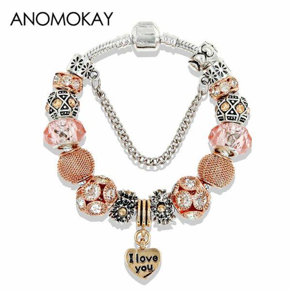 Pandora stílusú 'I love you' arany színű charm karkötő, 21 cm