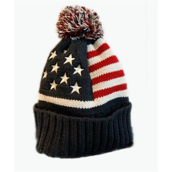 USA zászló mintájú kötött sapka