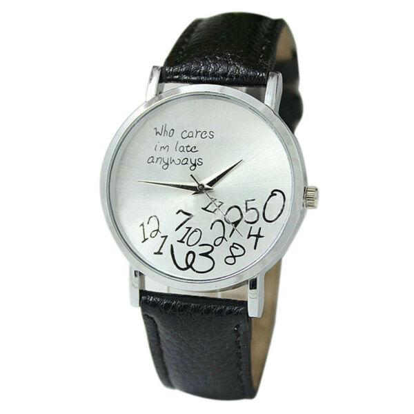 """Divat óra """"Who cares I'm late anyway"""" felirattal, fekete.  Leáraztuk apró szépséghiba miatt."""