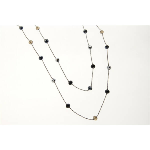 Fekete két soros láncból álló nyaklánc