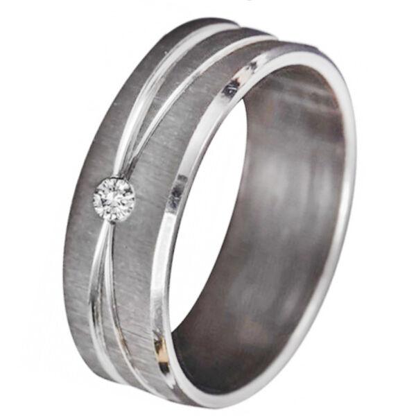 Köves, csiszolt gyűrű apró kis kővel, 316L nemesacél