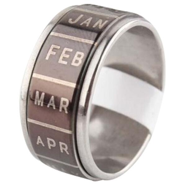 Nemesacél hónapos forgós gyűrű