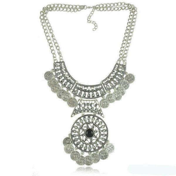 Vintage stílusú ezüst színű nyaklánc
