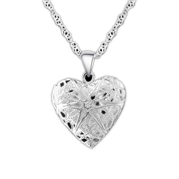 Maria King ezüstözött szív alakú képtartó függő medál nyaklánccal