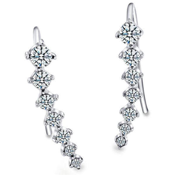 7 köves merev, kristályokkal kirakott fülbevaló, ezüst színű
