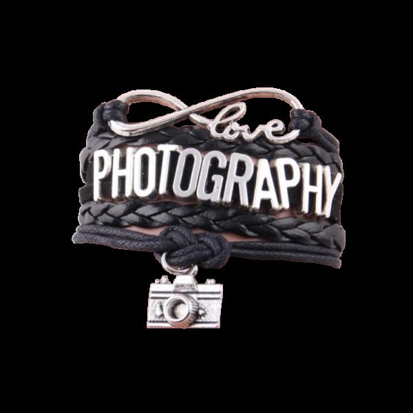 Love PHOTOGRAPHY feliratú többrétegű műbőr karkötő, fekete-ezüst