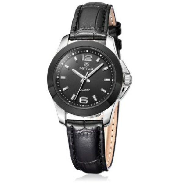 Megir 5006 L női óra, fekete számlap, valódi bőr, kopásálló