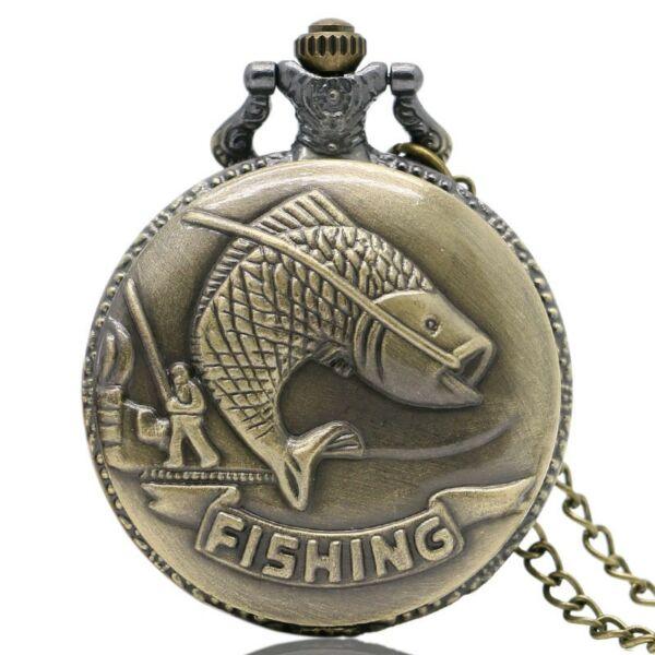 Horgászos, halas nemesacél zsebóra lánccal