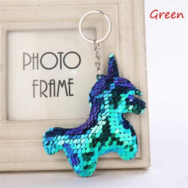 Unikornis flitteres pompom/kulcstartó, kék-zöld