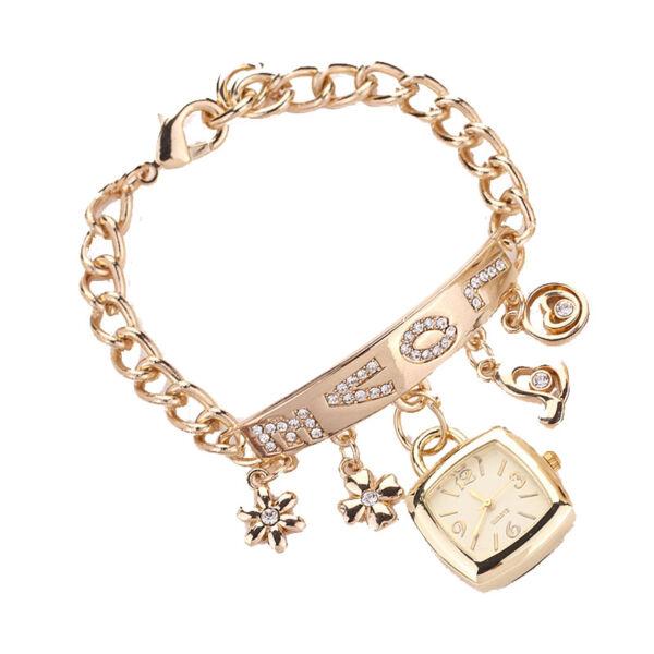 Love feliratú strasszos lánc karkötő óra arany színű