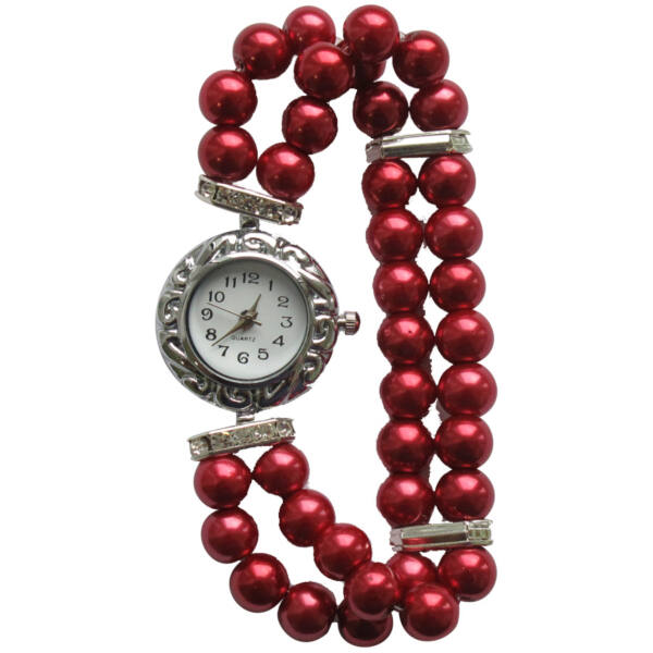 Gyöngyház piros gyöngyös szíjú óra