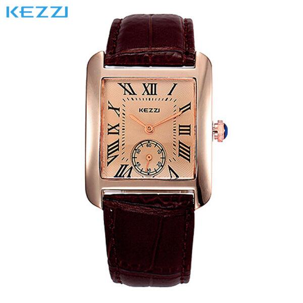 Kezzi elegáns szögletes óra barna szíjjal