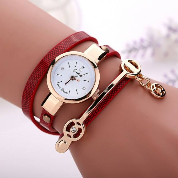 Hosszú műbőr szíjas karkötő óra, piros