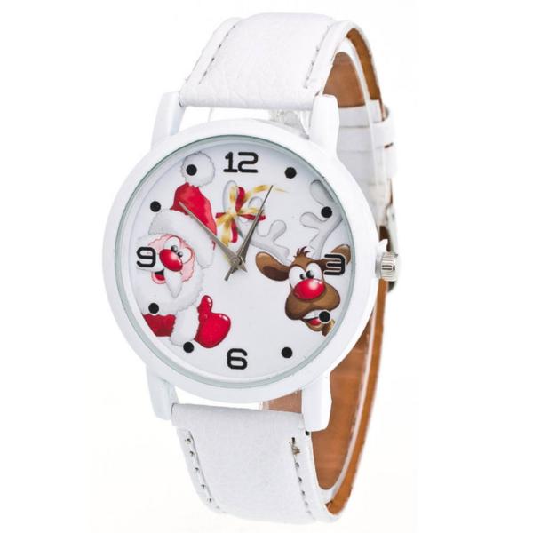 Mikulásos, rénszarvasos óra fehér szíjjal