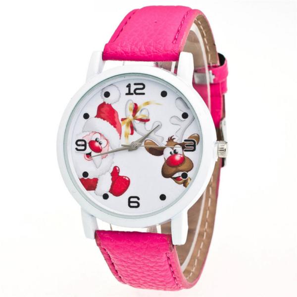 Mikulásos, rénszarvasos számlapú óra sötét rózsaszín szíjjal