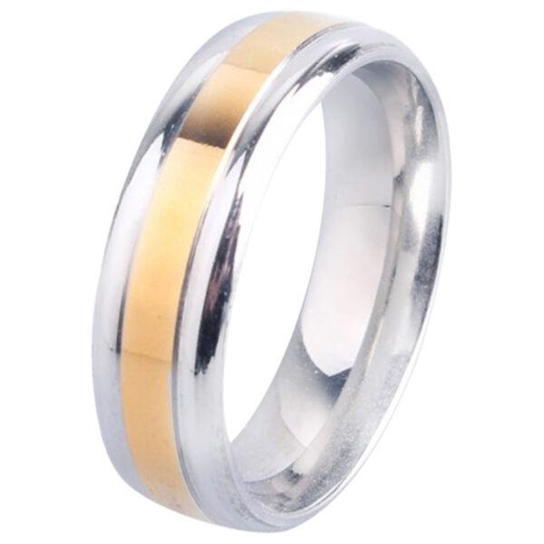 Nemesacél arany színű betétes, ezüst színű karika gyűrű