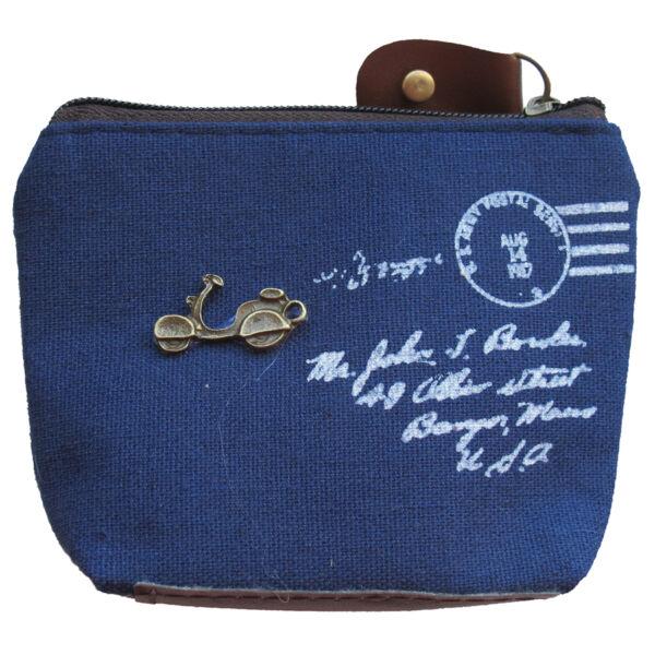 Pici, kék, vászon motorkerékpáros pénztárca