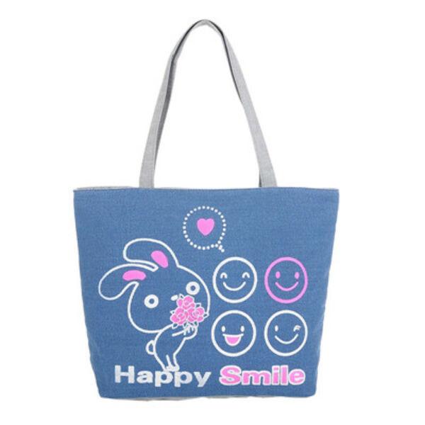 """""""Happy Smile"""" feliratú kék színű nyuszis válltáska"""