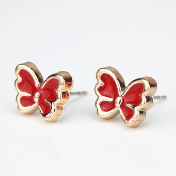 Pillangóformájú zománc és réz beszúrós fülbevaló, piros