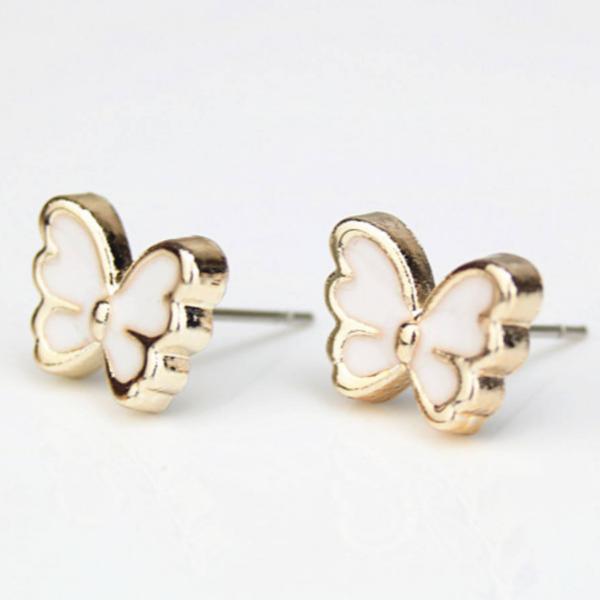Pillangóformájú zománc és réz beszúrós fülbevaló, fehér
