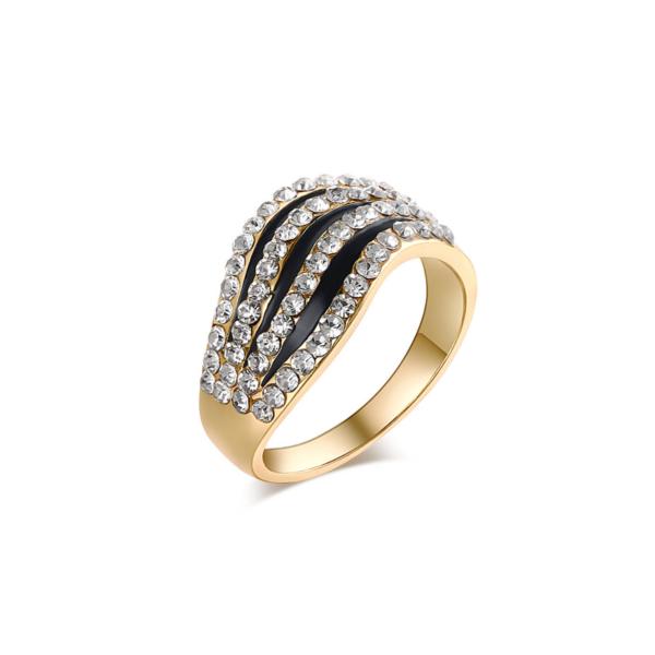 Fekete-arany nemesacél gyűrű cirkónium kövekkel, több méretben