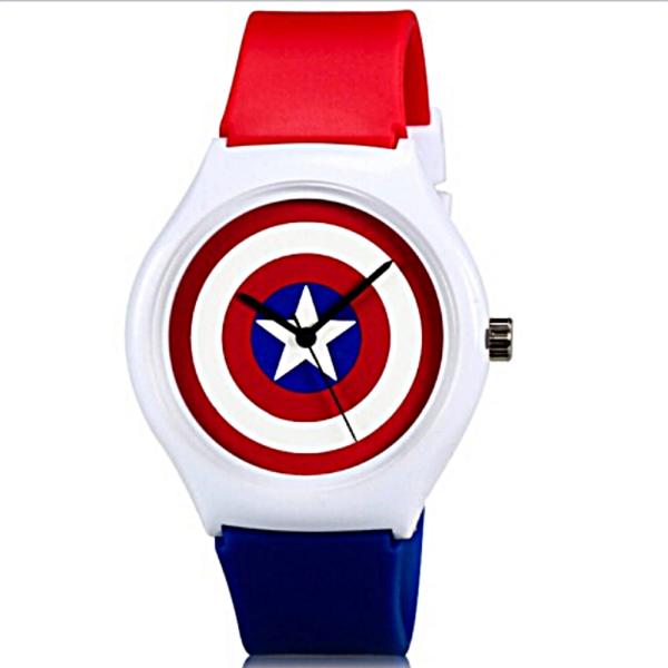 WILLIS Captain America dizájn szilikon szíjas uniszex karóra - cseppálló, ütésálló