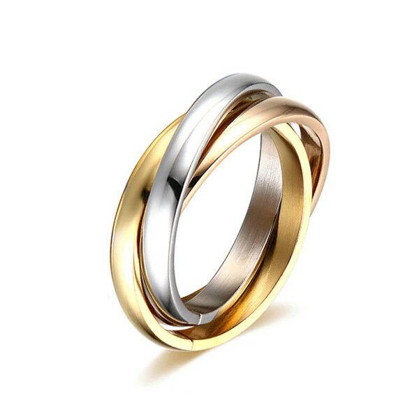 Nemesacél 3 részes ezüst-arany-rose színű gyűrű, több méretben