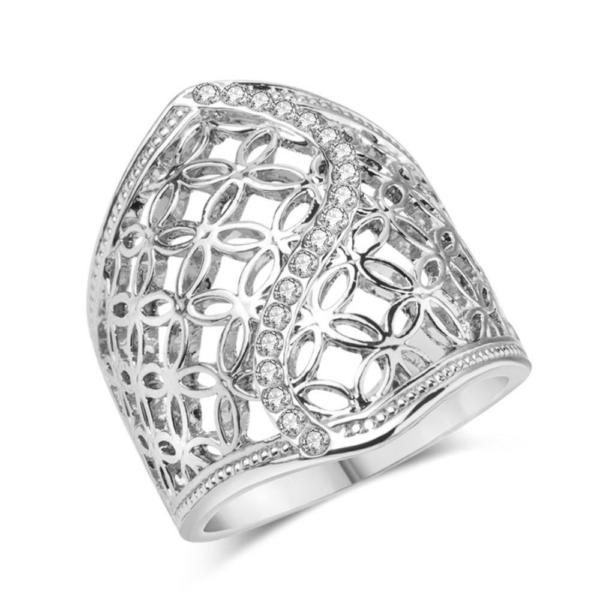 Vintage tibeti ezüst ötvözet és kristály gyűrű, ezüst színben, több méretben