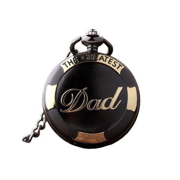 'The greatest Dad' (a legnagyszerűbb apa) feliratú fekete nemesacél zsebóra lánccal - dobozban